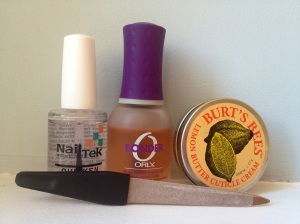 Nail Tek Quicken, Orly Bonder, Burt's Bees Lemon Butter Cuticle Cream