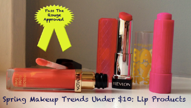 (from left to right) Revlon Lipgloss in Coral Reef, Revlon Lip Butter in Sweet Tart, and Maybelline Baby Lips in Pink Punch